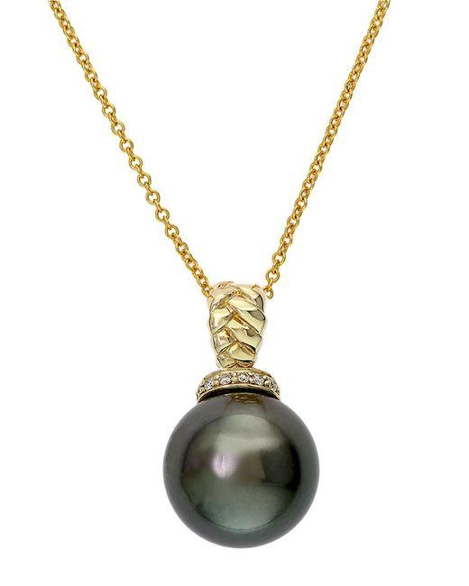 Effy | Metallic 14k Yellow Gold Black Tahitian Pearl And Diamond Pendant Necklace | Lyst