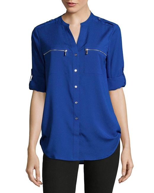 Calvin Klein   Multicolor Roll-sleeve Blouse   Lyst