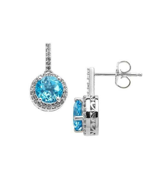 Lord & Taylor | Sterling Silver Blue And White Topaz Earrings | Lyst