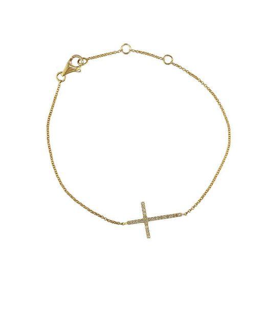 Effy | Metallic Pave Classica Diamond And 14k Yellow Gold Side Cross Bracelet | Lyst