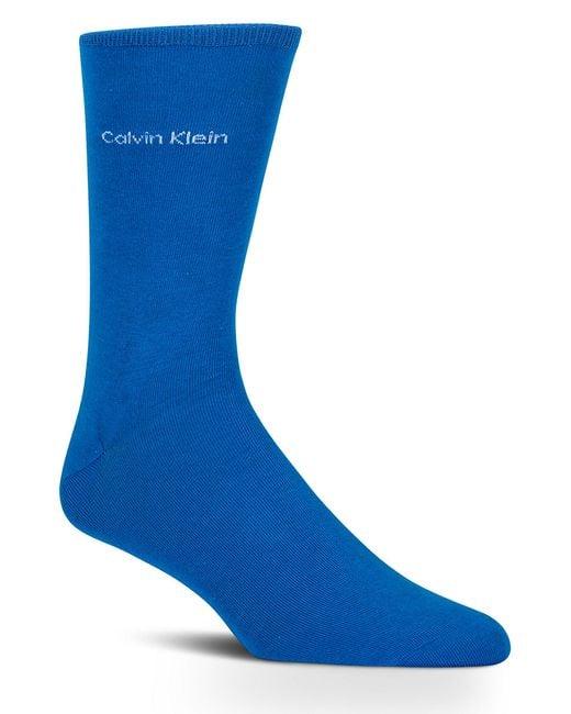 Calvin Klein | Blue Giza Cotton Flat Knit Socks for Men | Lyst