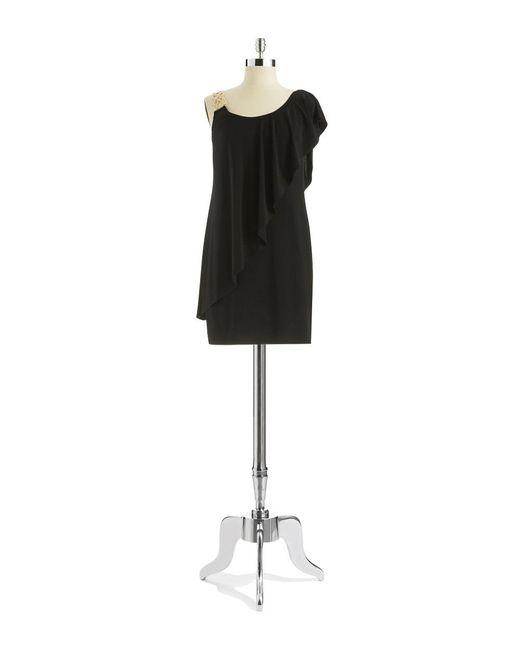 Betsy & Adam | Black One-shoulder Dress | Lyst