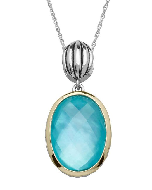 Lord & Taylor | Metallic Sterling Silver 14kt. Yellow Gold And Quartz Doublet Pendant Necklace | Lyst