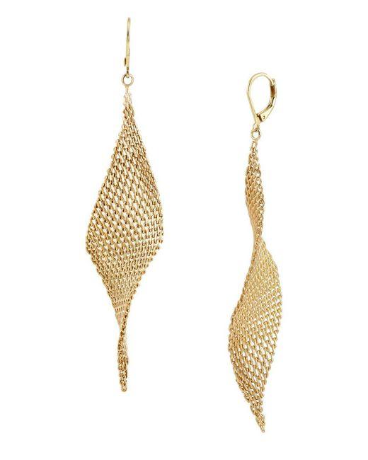 Kenneth Cole | Metallic Jeweled Elements Goldtone Mesh Drop Earrings | Lyst