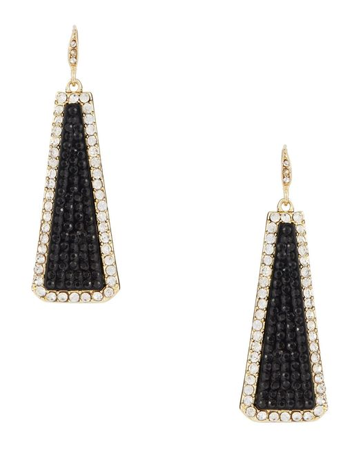 ABS By Allen Schwartz | Black Pavé Frame Linear Drop Earrings | Lyst