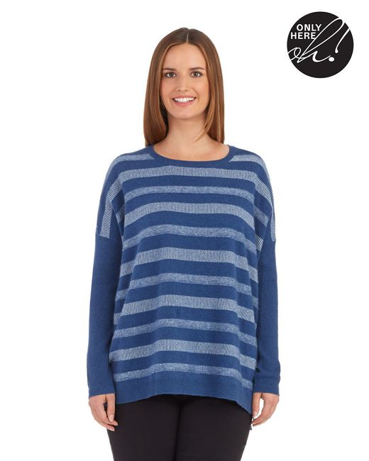 Lord & Taylor   Blue Petite Striped Cashmere Sweater   Lyst