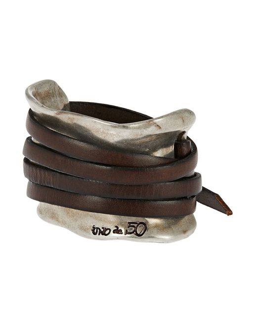 Uno De 50 | Metallic Leather Strap Accented Cuff Bracelet for Men | Lyst