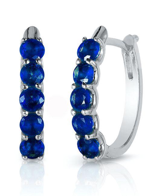 Effy | Blue Royale Bleu Sapphire And 14k White Gold Hoop Earrings | Lyst