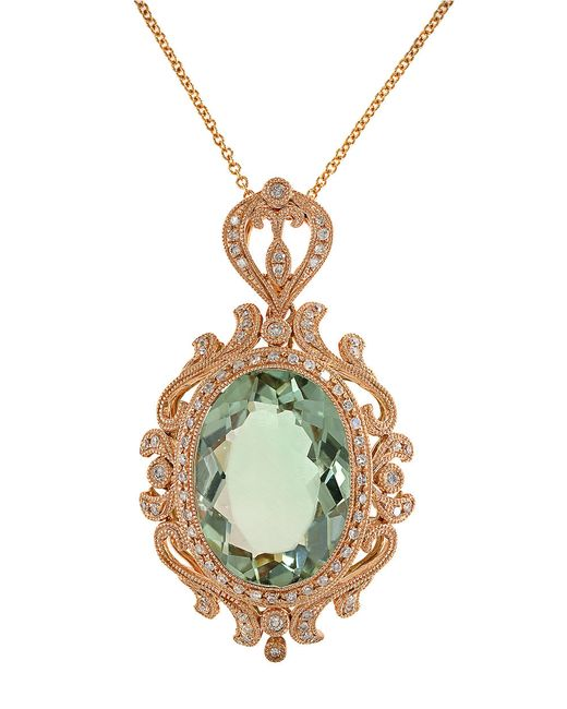 Effy | Green Amethyst, Diamond And 14k Rose Gold Pendant Necklace | Lyst