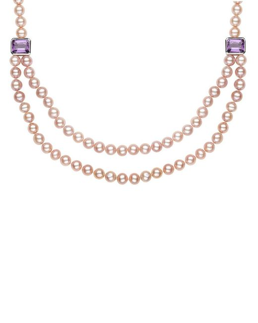 Lord & Taylor | Metallic Sterling Silver Pink Freshwater Pearl And Amethyst Necklace | Lyst