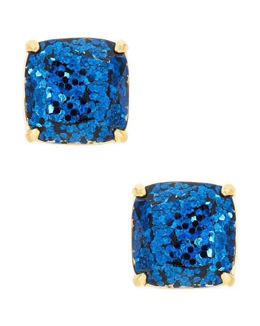kate spade new york | Blue Small Square Glitter Stud Earrings | Lyst