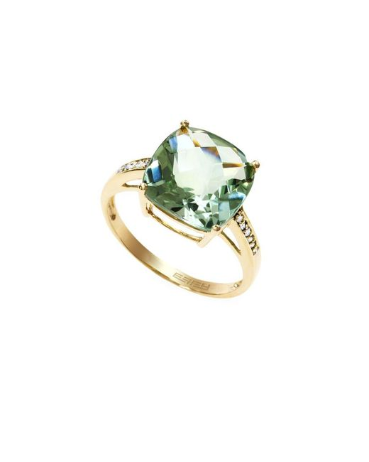 Effy | Red Box Gallery 14k Yellow Gold Green Amethyst And Diamond Ring | Lyst