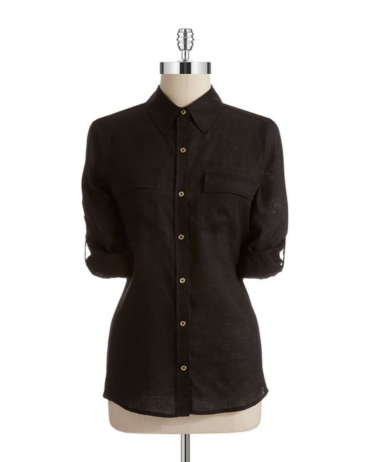 Calvin Klein   Black Linen Roll Sleeve Blouse   Lyst