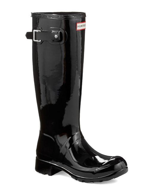 HUNTER | Black Original Tour Gloss Rubber Rain Boots | Lyst