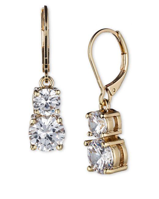 Anne Klein | Metallic Gold-tone Pavé Crystal Drop Earrings | Lyst