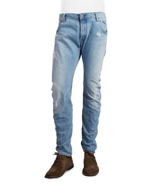 G-Star RAW | Blue Arc 3d Distressed Slim-straight Jeans for Men | Lyst