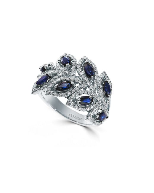 Effy | Blue 14k White Gold Sapphire And Diamond Ring | Lyst