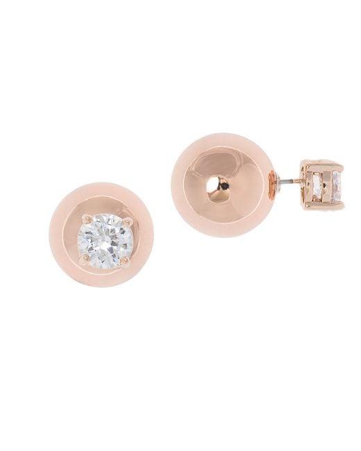 Anne Klein   Metallic Glitz Rose Goldtone Stud Earrings   Lyst