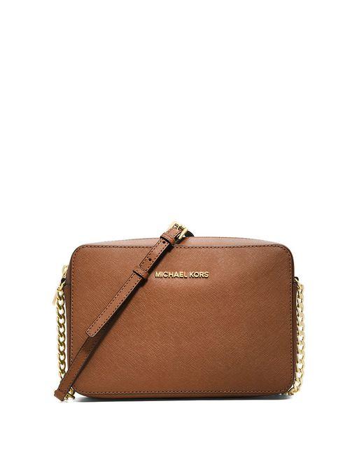 MICHAEL Michael Kors | Brown Saffiano Leather Crossbody Bag | Lyst