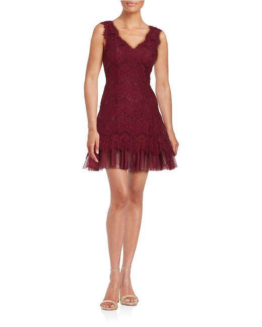 Betsy & Adam   Natural Lace Fit-and-flare Dress   Lyst