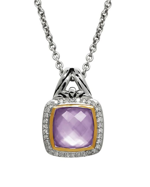 Lord & Taylor | Purple Quartz, Diamond And Sterling Silver Pendant Necklace | Lyst