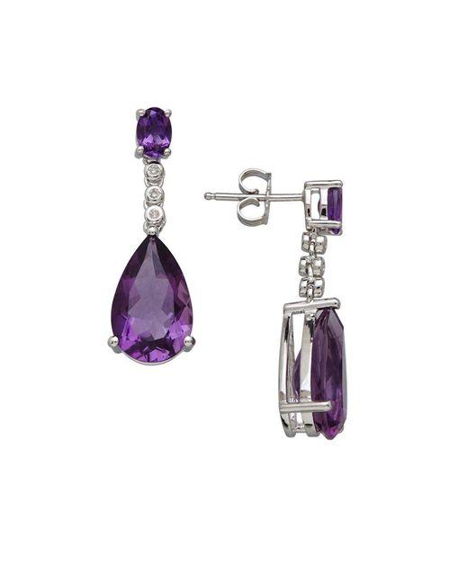 Lord & Taylor | Purple Amethyst, Diamond And Sterling Silver Teardrop Earrings | Lyst