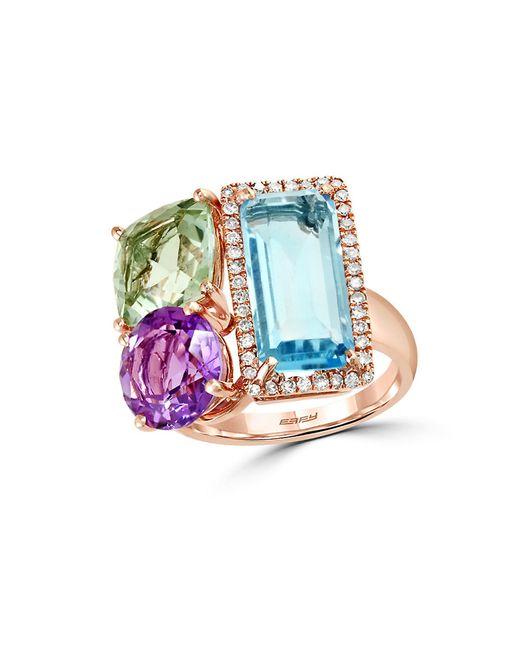 Effy | Pink Mosaic Diamond, Semi-precious, Multi-stone And 14k Rose Gold Ring | Lyst
