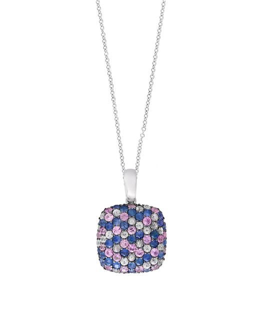 Effy | Metallic 925 Sterling Silver And Tricolor Sapphire Pendant Necklace | Lyst