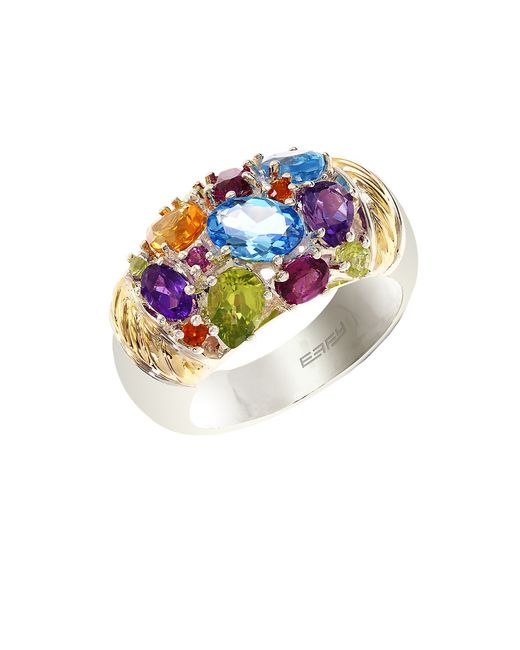 Effy | Multicolor Semi-precious, Multi-stone Sterling Silver And 18k Yellow Gold Ring | Lyst