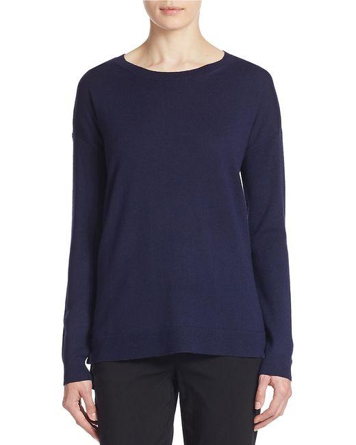 Lord & Taylor | Blue Merino Wool Hi-lo Crewneck Sweater | Lyst