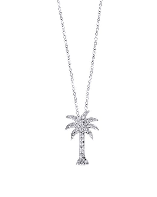 Effy | Diamond & 14k White Gold Palm Tree Pendant Necklace | Lyst