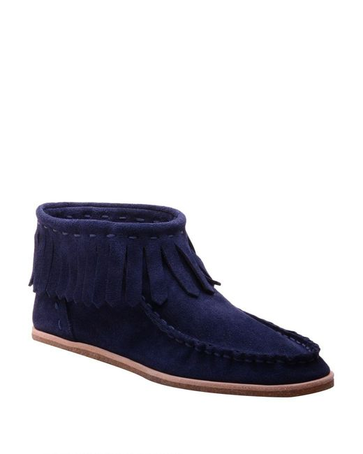 Splendid | Blue Bennie Suede Moccasin Ankle Boots | Lyst