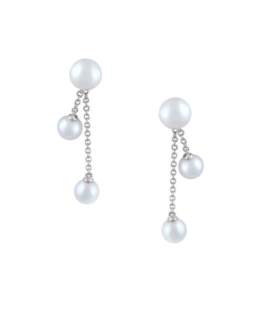 Effy | 6mm-8mm Freshwater Pearl And 14k White Gold Drop Earrings | Lyst
