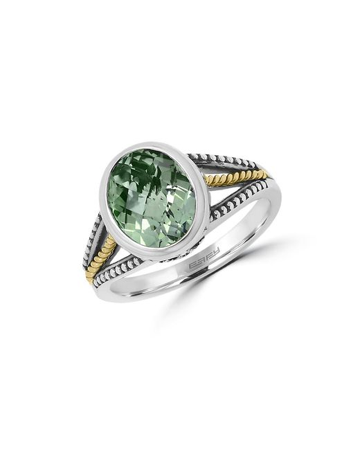 Effy | 925 Sterling Silver, 18k Yellow Gold And Green Amethyst Ring | Lyst