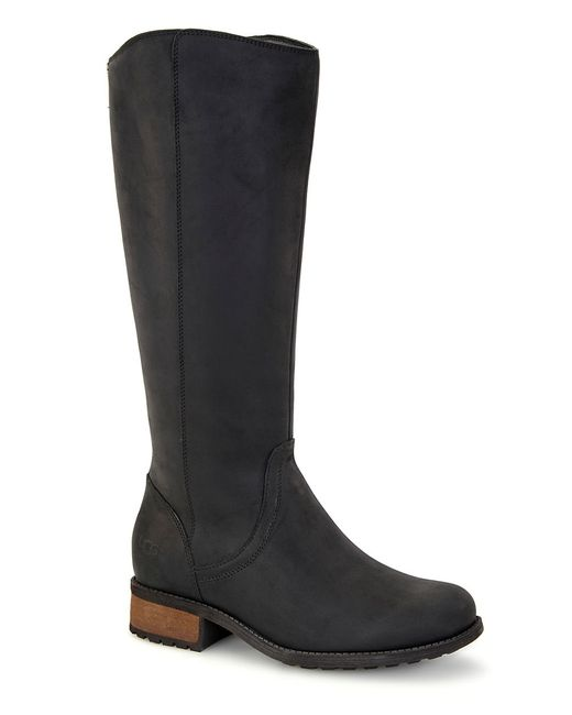 Ugg | Black Seldon Pure Faux Fur-lined Leather Boots | Lyst
