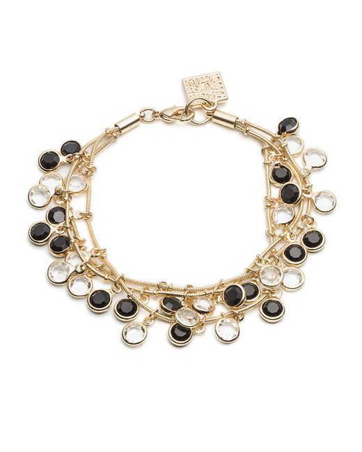 Anne Klein | Black And White Dangling Stone Bracelet | Lyst