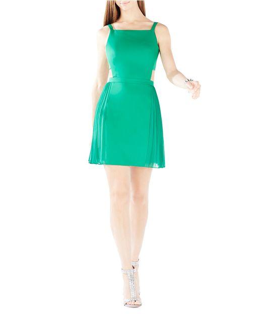 BCBGMAXAZRIA | Green Brielle Open-back Side-pleated Dress | Lyst