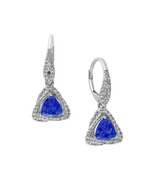 Effy | Blue Tanzanite Royale Diamond And 14k White Gold Triangle Drop Earrings | Lyst