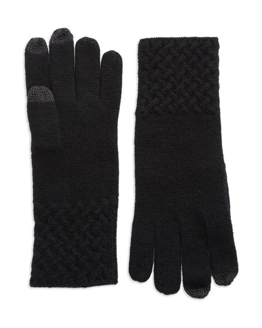 Lord & Taylor | Black Knit Cuff Cashmere Gloves | Lyst