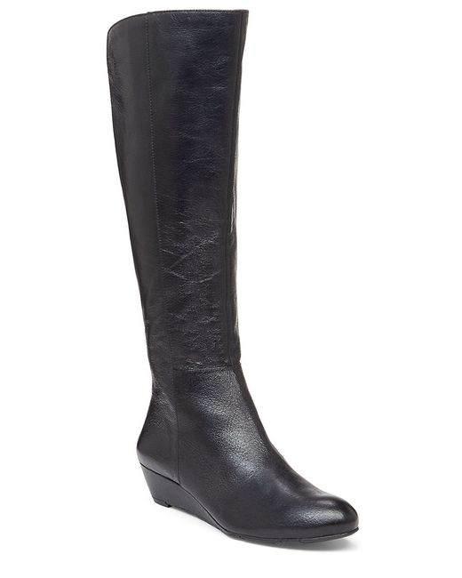 Jessica Simpson | Black Bafford Faux Leather And Elastic Knee-high Wedge Boots | Lyst