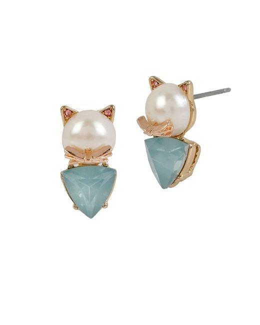 Betsey Johnson | Metallic Faux Pearl Cat Stud Earrings | Lyst