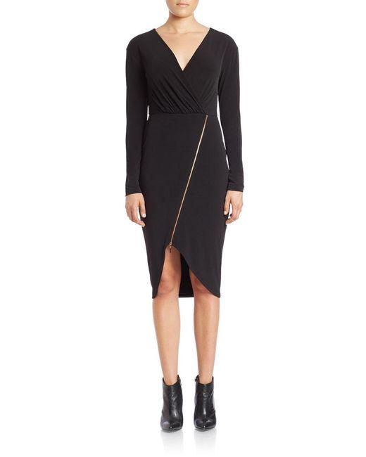 RACHEL Rachel Roy | Black Asymmetrical Zip Sheath Dress | Lyst