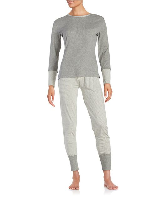 Splendid | Gray Cotton Blend Sleep Shirt And Pants Set | Lyst