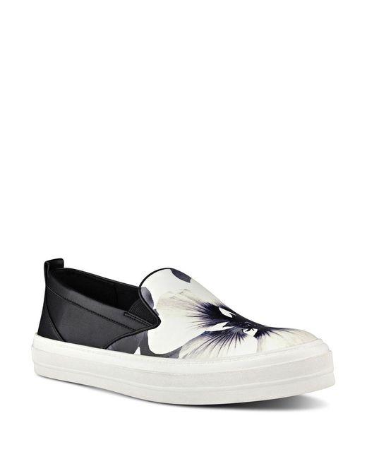 Nine West | Black Olsen Floral Faux Leather Slip-on Sneakers | Lyst