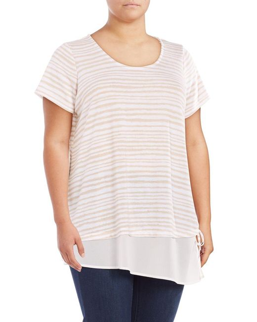 Lord & Taylor | White Mock Layer Striped Top | Lyst