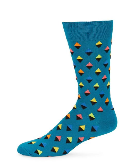 Happy Socks | Blue Abstract Triangle Crew Socks for Men | Lyst