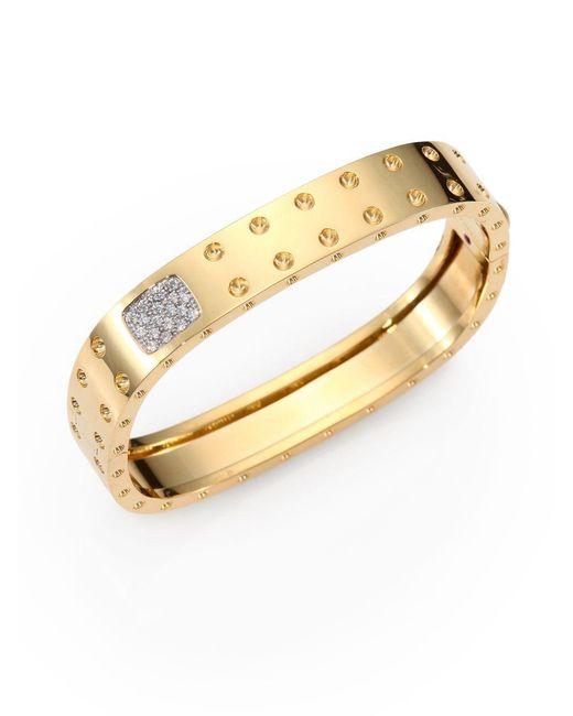 Roberto Coin | Metallic Pois Moi Diamond And 18k Yellow Gold Two-row Bangle Bracelet | Lyst