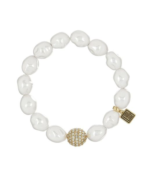 Laundry by Shelli Segal   White Faux Pearl Pave Stretch Bracelet   Lyst