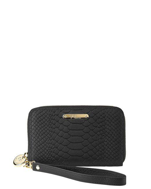 Gigi New York   Black Spring Python Embossed Leather Zipped Phone Wallet   Lyst