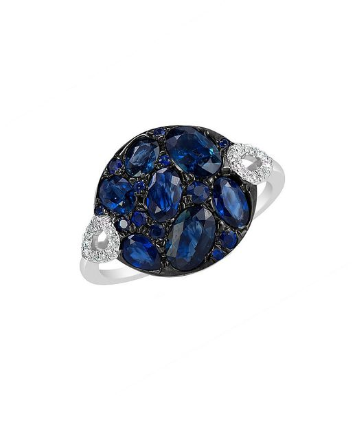 Marco Moore | Blue Sapphire, Diamond And 14k White Gold Ring | Lyst